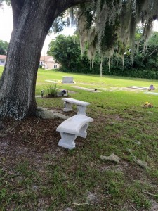 donation of benches to Mt. Peace Cemetery
